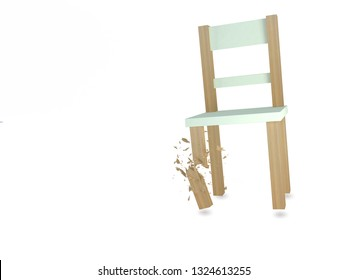 A falling chair with one of its leg broken surrounded by very 3d