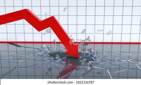 falling chart breaks the bottom, 3d illustration
