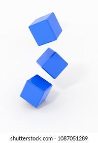 falling cubes - rendered 3d illustration