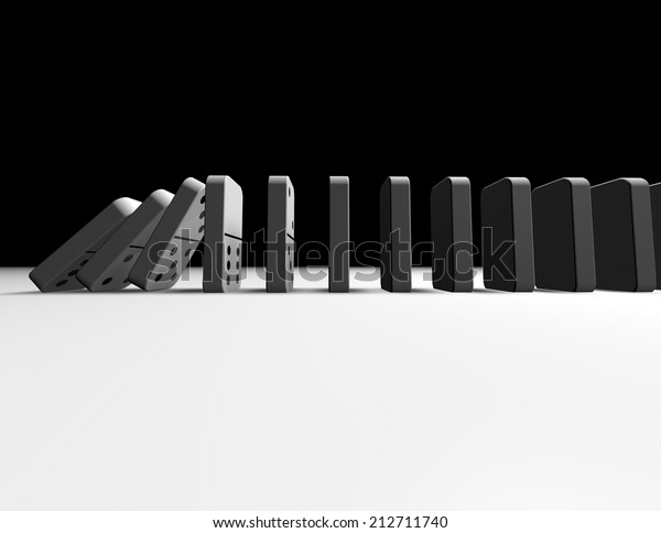 falling dominoes abstract influence concept illustration with copy space