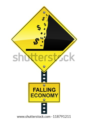 Falling economy road sign - raster