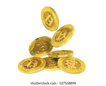 Falling gold bitcoin coins on a white background. 3d rendering.