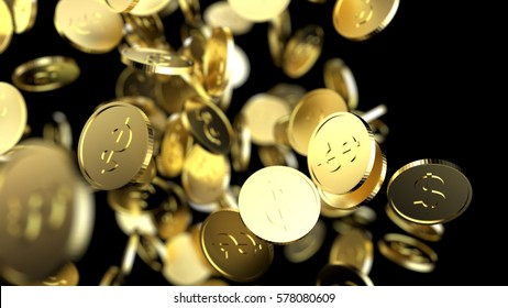 Falling gold coins. 3d render illustration