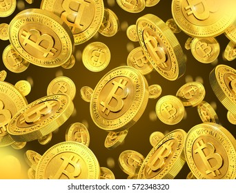 Falling gold coins with bitcoin sign. 3d rendering