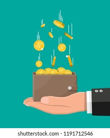 Falling gold coins and leather wallet in hand. Money rain. Golden coins with dollar sign. Growth, income, savings, investment. Symbol of wealth. Business success. Flat style illustration.