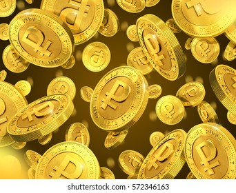 Falling gold coins with ruble sign. 3d rendering