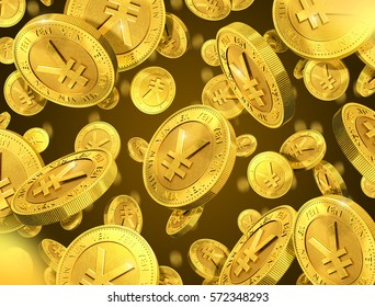 Falling gold coins with yen sign. 3d rendering