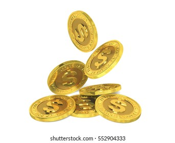 Falling gold dollar coins on a white background. 3d rendering.