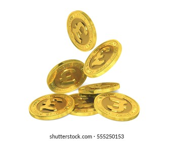 Falling gold pound coins on a white background. 3d rendering.