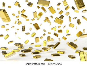 Falling golden bars, 3D illustration