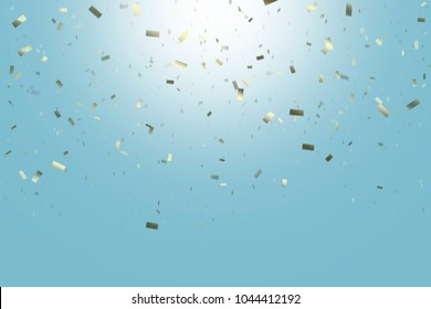 FALLING GOLDEN SHINY CONFETTI FROM BRIGHT BLUE SKY