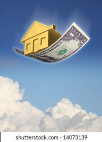 FALLING HOME PRICES A golden house falling from the sky on a dollar bill, against sky and clouds. 3D photo illustration