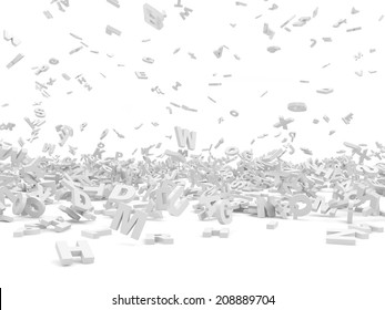 Falling Letters isolated on white background. Education Concept