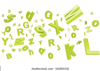 falling letters on a white background