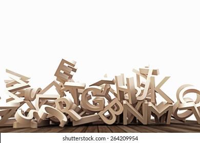 falling letters on wooden floor
