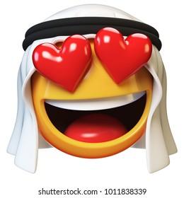 Falling in love Arab emoji isolated on white background, heart shaped eyes Arabian emoticon 3d rendering