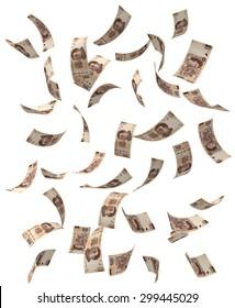 Falling Mexican peso bills.