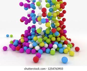 Falling multi colour balls on white background. 3D render