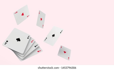 Falling poker playing cards Casino Concept on modern pink paste background - 3D rendering