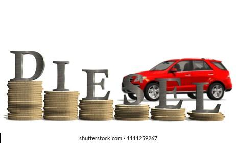 Falling prices of diesel cars - depreciation of diesel cars - driving prohibition of diesel cars - 3d render