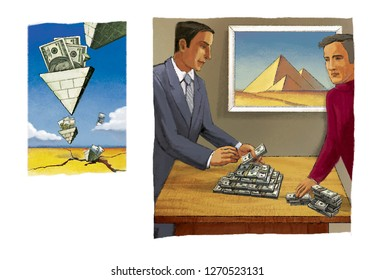 Falling pyramids of dollars. A man builds a pyramid of packs of dollars. Fraudulent investment