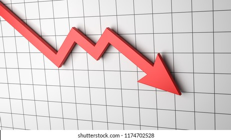 Falling Red Arrow Chart on White Background 3D Illustration
