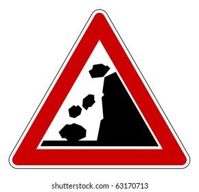 Falling rocks of landslide road sign, isolated on white background.