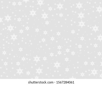 falling snow Christmas background. Subtle flying snowflakes on light grey background.