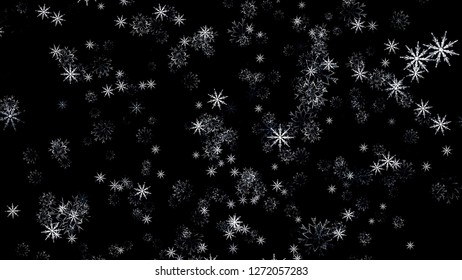 Falling snowflakes, matte, wide angle, loopable. Snow Flakes falling close up on black background with alpha.