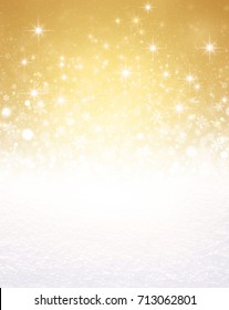 Falling snowflakes, white snow and bright light on a glittering gold colored background