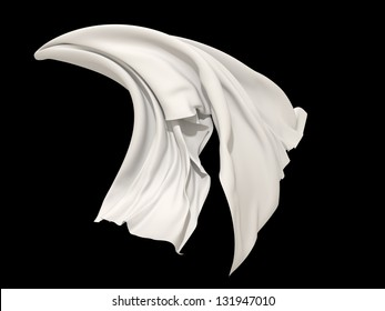 falling white cloth; textile isolated object