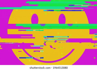 False colors and an intentional heavy glitch distortion effect: a drawing of a big yellow shape, representing a funny smiling face. A disquieting, unsettling symbol.