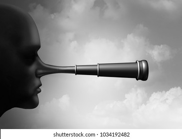 False research and scientific misconduct or conspiracy theory collecting information as a lier nose shaped as a telescope as a surreal idea with 3D illustration elements.