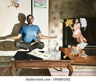A Falun Dafa practitioner is meditating watercolor painting