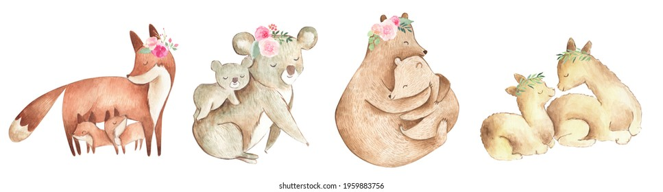 Family Animals watercolor illustration mother and baby with flowers for Mother's Day, baby shower or nursery with bear, fox, koala