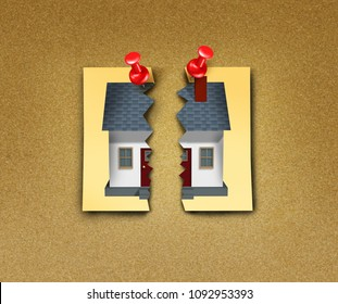 Family breakup as a divorce home ripped apart in a domestic separation with 3D illustration elements.