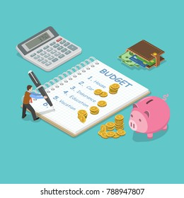 Family budget flat isometric concept. Man is planning the family budget and write down it into the notepad. There is some amount of money near of the each of the budget item.