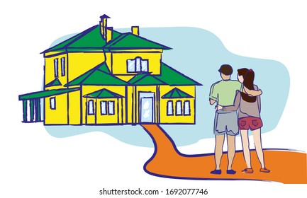 A family buys a new home. Happy newcomers. The choice of real estate. Buying a new apartment building.