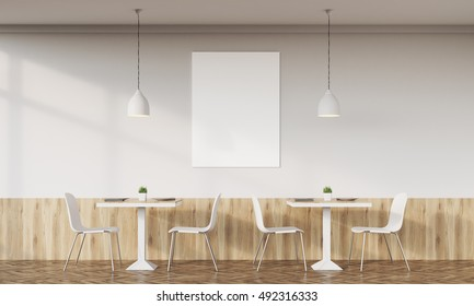 Family cafe interior with retro design, tables, chairs and vertical poster on white wall. Concept of family dinner. 3d rendering. Mock up.