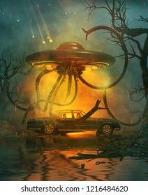 A family with a car broken down on a secluded forest at night with an attack of an ufo from the sky,scene for scary or horror concept and ideas,3d rendering