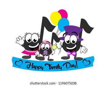 A family of cartoon eighth notes celebrating Family Day.  The mom is wearing a pink skirt.  The dad is wearing a top hat and bow tie.  The baby is wearing a pink bonnet, is holding on to a rattle.