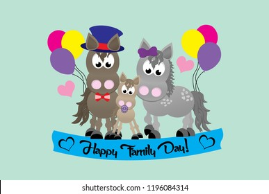 A family of cartoon horses celebrating Family Day.  The mom wearing bright purple bow.  The dad wearing a top hat and bow tie.  The baby has a soother in it's mouth.  balloons and hearts in background