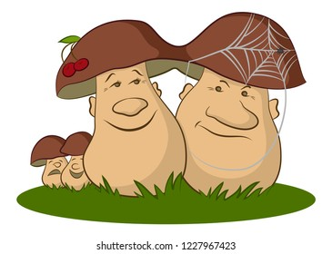 Family of Cartoon Mushrooms Ceps on Green Grass, Parents, Optimistic Mother and Pessimistic Father and Children, Cheerful and Sad.