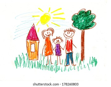 Family with children. Kids drawings