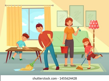 Family cleaning house. Father, mother and kids cleaning living room together. Housework family, domestic dirty floor cleaning or regular household working cartoon  illustration