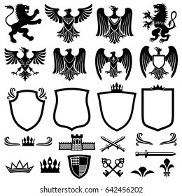 Family coat of arms elements for heraldic royal emblems. Crown and shield for royal badge, illustration of royal coat of arm