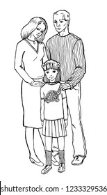family, dad, mom and daughter. Coloring, black and white illustration.