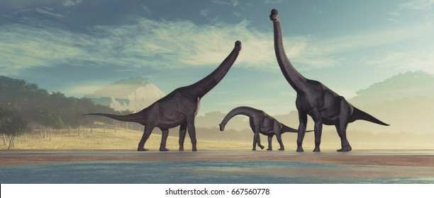 Family of dinosaurs -  brachiosaurus. This is a 3d render illustration