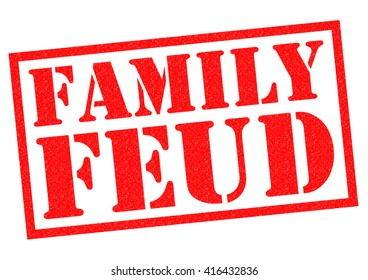 FAMILY FEUD red Rubber Stamp over a white background.