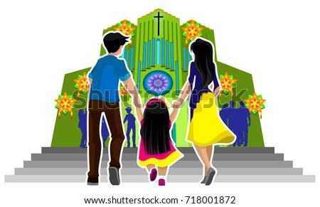 family going churchのイラスト素材 718001872 shutterstock